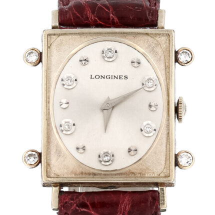 Longines TANK 0.94 ct White Diamonds '' Yellow Gold Vintage 1948 Extremly rare Find (total case size 33x43mm)