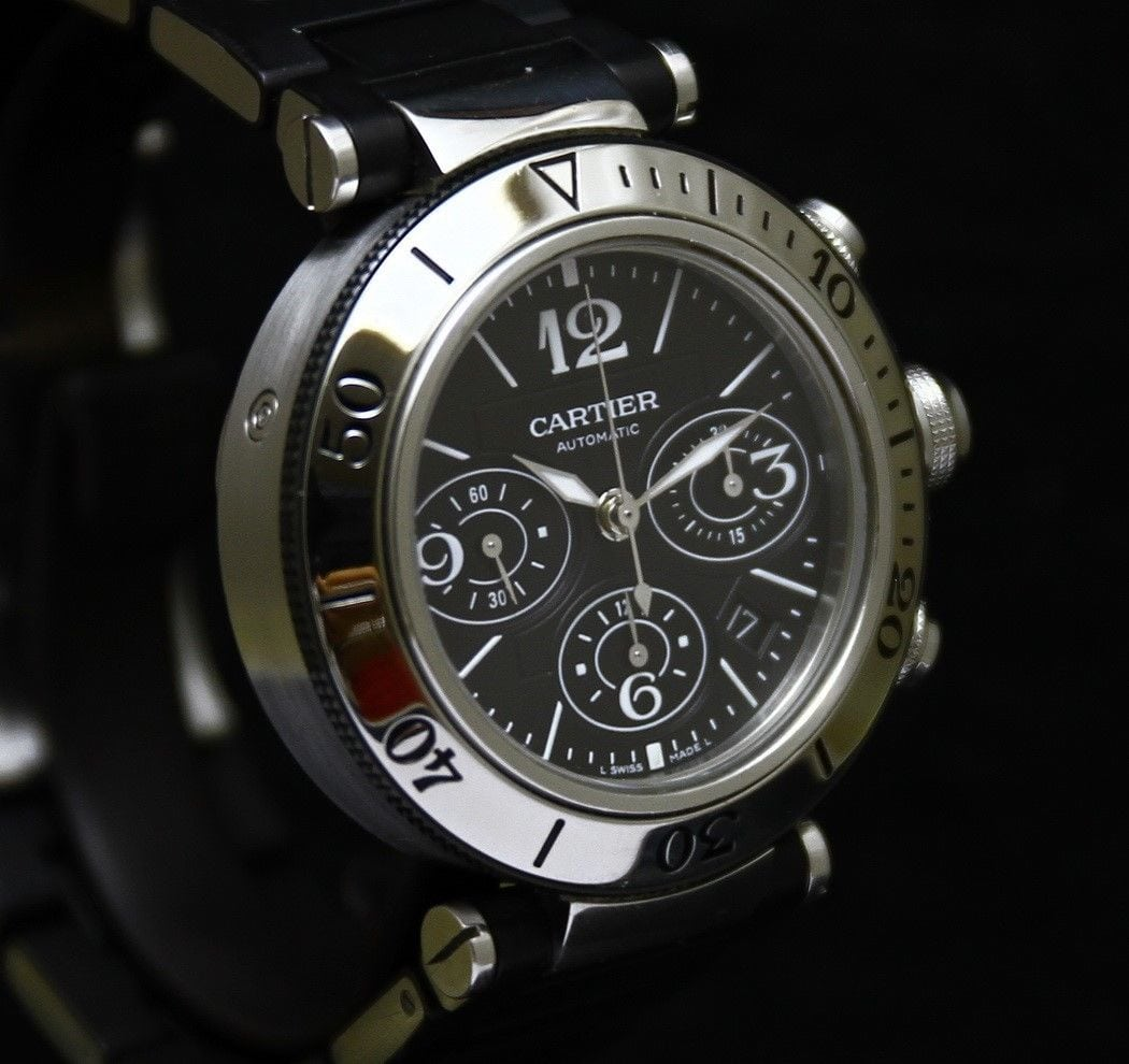 Cartier Pasha Seatimer Ø 42 mm Steel Rubber Automatic Chronograph ... 27b231f8b2